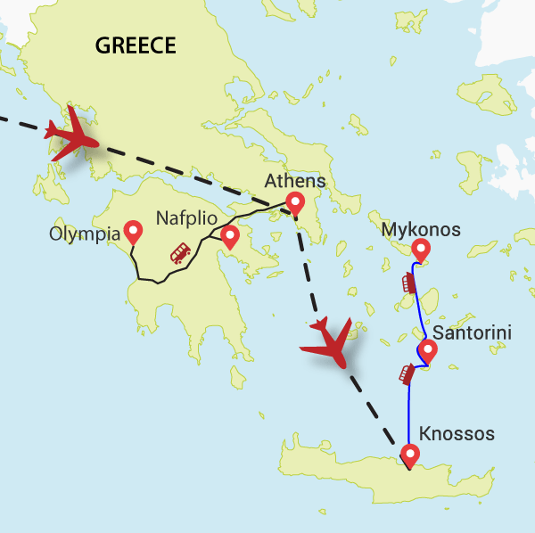 Greek Island tour map