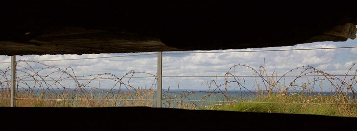 Looking out of the Pointe Du Hoc Observation Bunker