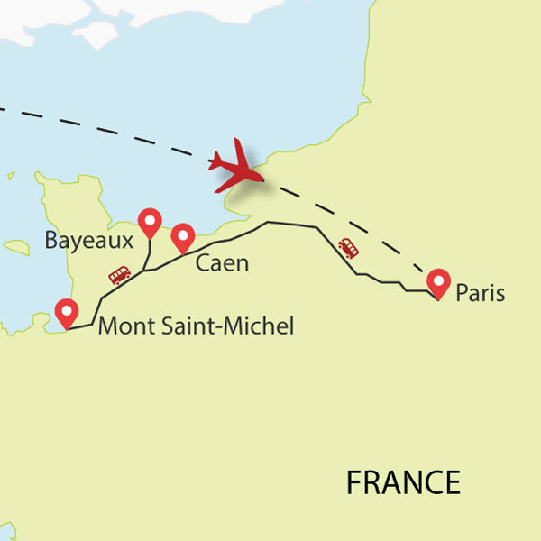Normandy tour map